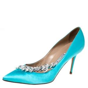 Manolo Blahnik Blue Satin Nadira Crystal Embellished Pointed Toe Pumps Size 36.5