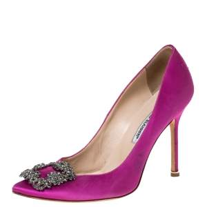 Manolo Blahnik Pink Satin Hangisi Crystal Embellished Pumps Size 38.5