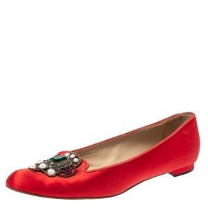 Manolo Blahnik Red Satin Eufrasia Ballet Flat Size 37.5