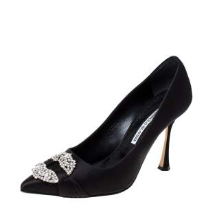 Manolo Blahnik Black Satin Maidu Crystal Embellished Pumps Size 39