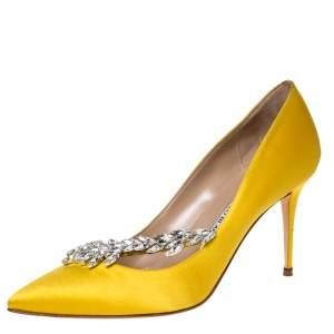 Manolo Blahnik Yellow Satin Nadira Crystal Embellished Pointed Toe Pumps Size 38.5