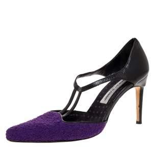 Manolo Blahnik Purple Tweed and Black Leather T-Bar Square Toe Pumps Size 39