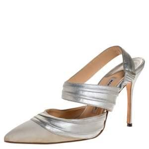 Manolo Blahnik Silver Leather And Grey Grosgrain Alla Pumps Size 37