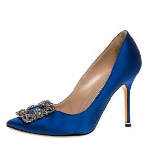 Manolo Blahnik Blue Satin Hangisi Embellished Pointed Toe Pumps Size 36.5