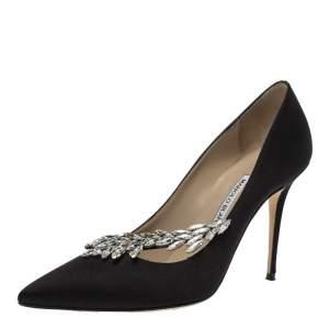 Manolo Blahnik Black Satin Nadira Crystal Embellished Pointed Toe Pumps Size 39.5