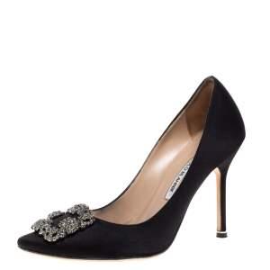 Manolo Blahnik Black Satin Hangisi Crystal Embellished Pumps Size 38.5