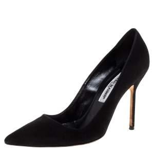 Manolo Blahnik Black Suede BB Pointed Toe Pumps Size 38