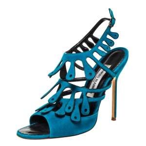 Manolo Blahnik Blue Suede Strappy Ankle Strap Sandals Size 39