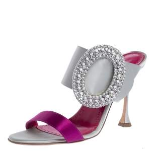 Manolo Blahnik Grey/Purple Satin Fibiona Crystal Embellished Open Toe Sandals Size 38.5