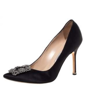 Manolo Blahnik Black Satin Hangisi Crystal Embellished Pointed Toe Pumps Size 37