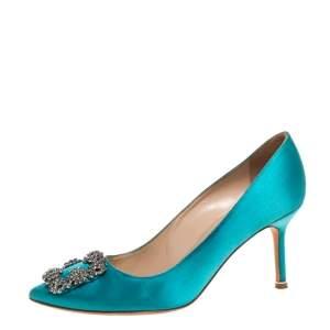 حذاء كعب عالى مانولو بلانيك مقدمة مدببة زخرفة كريستال هانغيسى ساتان أزرق مقاس 38