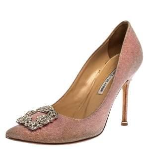 Manolo Blahnik Metallic Pink Glitter Fabric Hangisi Pearl Embellished Pumps Size 40.5