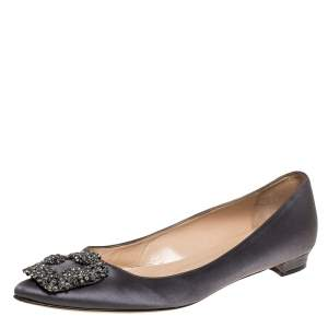 Manolo Blahnik Grey Satin Hangisi Ballet Flats Size 38.5