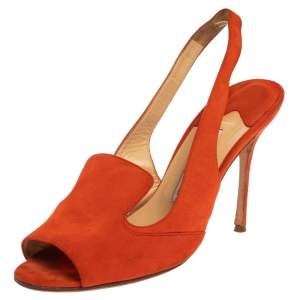 Manolo Blahnik Orange Suede Slingback Sandals Size 39