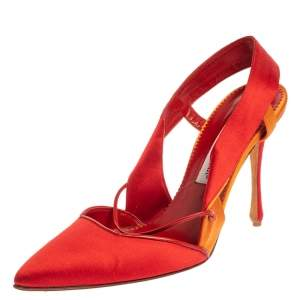 Manolo Blahnik Red/Orange Satin Pointed Toe Slingback Sandals Size 40.5