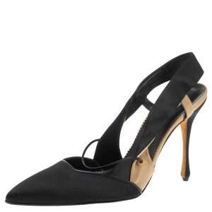 Manolo Blahnik Black Satin Slingback Sandals Size 40.5