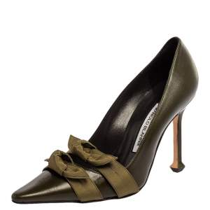 Manolo Blahnik Green Leather Bow Pointed Toe Pumps Size 37