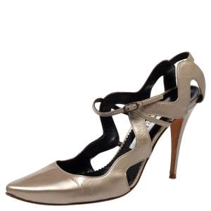 Manolo Blahnik Metallic Beige Leather Cutout Sandals Size 39.5