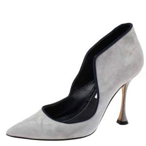 Manolo Blahnik Grey Suede Espedal Collar Pointed Toe Pumps Size 38