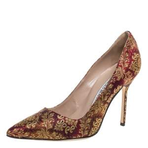 Manolo Blahnik Brocade Fabric Pointed Toe Pumps Size 37