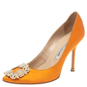 Manolo Blahnik Orange Satin Pearl Embellished Hangisi Pumps Size 37.5