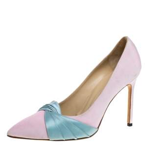 Manolo Blahnik Pink/Blue Canvas And Satin Criss Cross Pleated Pointed Toe Pumps Size 40