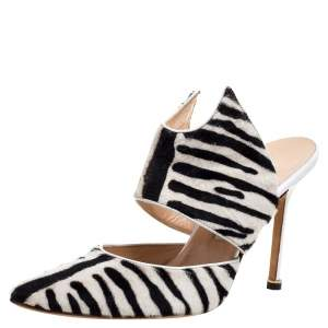 Manolo Blahnik Monochrome Zebra Print Pony Hair Pointed Toe Mules Size 39.5