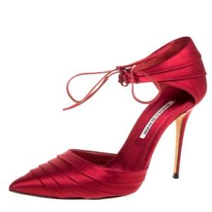 Manolo Blahnik Red Satin Reya Pleated Pointed Toe Ankle Wrap Pumps 39.5