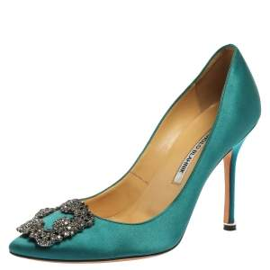 Manolo Blahnik Blue Satin Hangisi Crystal Embellished Pumps Size 38