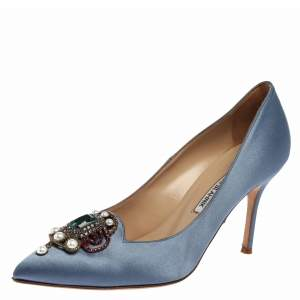 Manolo Blahnik Blue Satin Eufrasia Pumps Size 37.5