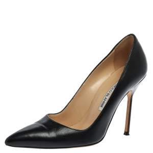 Manolo Blahnik Black Leather BB Pointed Toe Pumps Size 36