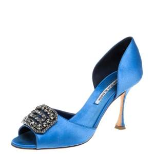 Manolo Blahnik Blue Satin Dorsay Pumps Size 38