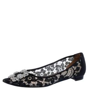 Manolo Blahnik Black Lace and Satin Hangisi Ballet Flats Size 38.5