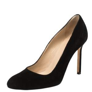 Manolo Blahnik Black Suede BB Round Toe Pumps Size 35.5