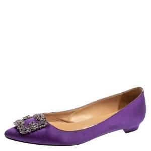 Manolo Blahnik Violet Satin Hangisi Crystal Embellished Ballet Flats Size 39