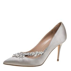 Manolo Blahnik Grey Satin Nadira Pointed Pumps Size 38