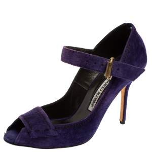 Manolo Blahnik Purple Suede Leather Open Toe Pumps Size 40.5