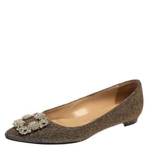 Manolo Blahnik Metallic Grey Glitter Fabric Hangisi Crystal Embellishments Ballet Flats Size 37