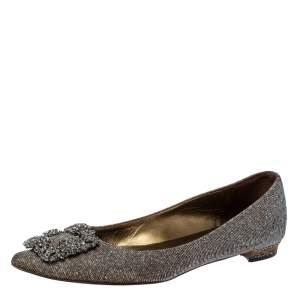 Manolo Blahnik Metallic Grey Glitter Fabric Hangisi Crystal Embellishments Ballet Flats Size 36