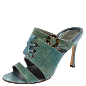 Manolo Blahnik Turquoise Lizard Corset Slingback Open Toe Sandals Size 40