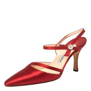 Manolo Blahnik Red Satin Ankle Strap Sandals Size 37