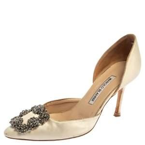 حذاء كعب عالى مانولو بلانيك دورسيه زخرفة كريستال هانغيسى ساتان أبيض مقاس 36