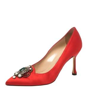 Manolo Blahnik Red Satin Crystal Embellished Leona Pumps Size 37.5
