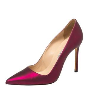 Manolo Blahnik Radiant Magenta Leather BB Pointed Toe Pumps Size 39