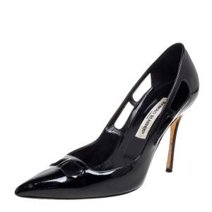 Manolo Blahnik Black Patent Leather Cut Out Pumps Size 39