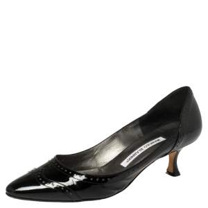 Manolo Blahnik Black Brogue Patent Leather Kitten Heel Pumps Size 37.5