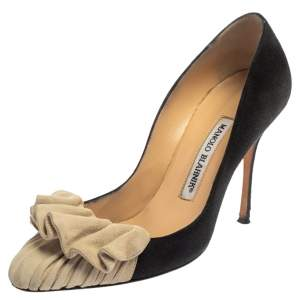 Manolo Blahnik Black/White Suede Ruffle Pumps Sizs 36