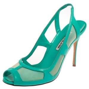 Manolo Blahnik Green Leather Slingback  Peep Toe Sandals Size 40