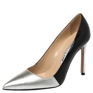 حذاء كعب عالى مانولو بلانيك مقدمة مدببة عثمانا جلد أسود / فضى مقاس 35.5