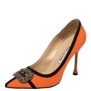 حذاء كعب عالى مانولو بلانيك زخرفة كريستال غوتريان ساتان برتقالى مقاس 40